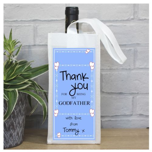 Personalised Thank you for being my Godfather Bottle Bag N28